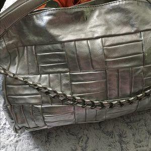 NWT GB Silver Metallic Large Carryall Shoulder Bag